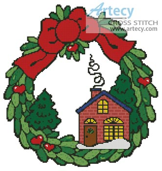 Xmas House Wreath - Cross Stitch Chart