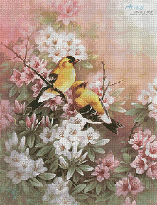 Yellow Finches - Cross Stitch Chart