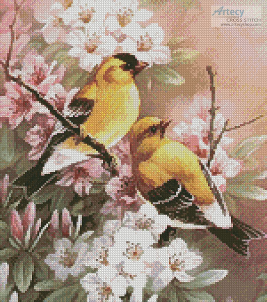 Yellow Finches (Crop) - Cross Stitch Chart