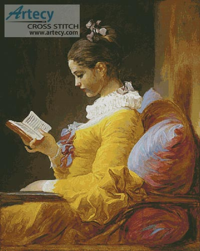 Young Girl Reading (Large) - Cross Stitch Chart