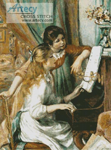 Young Girls at the Piano - Cross Stitch Chart