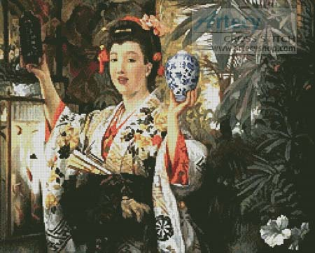 Young Lady Holding Japanese Objects - Cross Stitch Chart