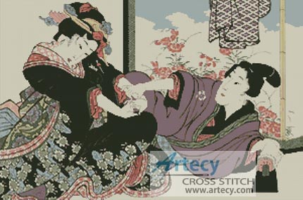 Young Man seducing a Geisha - Cross Stitch Chart