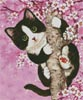 Mini Cherry Blossom Cat - Cross Stitch Chart