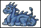 Mini Cute Dragon (Blue) - Cross Stitch Chart