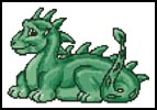 Mini Cute Dragon (Green) - Cross Stitch Chart
