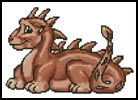 Mini Cute Dragon (Terracotta) - Cross Stitch Chart