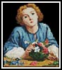 Mini A young Girl arranging a Bouquet - Cross Stitch Chart