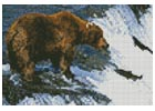 Mini Grizzly Bear Salmon Fishing - Cross Stitch Chart