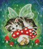 Mini Kitten Fairy on Mushroom - Cross Stitch Chart