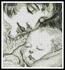 Mini Mother Holding Baby (Sepia) - Cross Stitch Chart