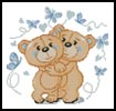 Mini Teddies in Love (Blue) - Cross Stitch Chart