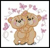 Mini Teddies in Love (Pink) - Cross Stitch Chart