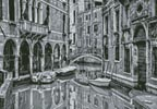 Mini Venice Canal Black and White - Cross Stitch Chart