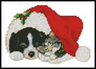 Mini Xmas Cat and Dog - Cross Stitch Chart