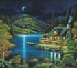 Moonlit Cabin (Cushion) - Cross Stitch Chart