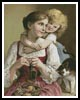 Mother, Daughter and Cat - Cross Stitch Chart