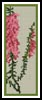 Pink Heath Flowers Bookmark - Cross Stitch Chart