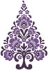 Polish Folk Art Christmas Tree Purple - Cross Stitch Chart
