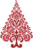 Polish Folk Art Christmas Tree Red - Cross Stitch Chart