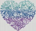 Purple Blue Green Heart - Cross Stitch Chart