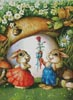 Rabbits and Carrot Rose - Cross Stitch Chart