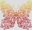 Red Orange Yellow Butterfly - Cross Stitch Chart