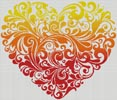 Red Orange Yellow Heart - Cross Stitch Chart