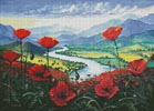 Red Poppies in the River Valley - Cross Stitch Chart
