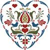 Rosemaling Heart 4 - Cross Stitch Chart