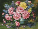 Roses and Delphinium - Cross Stitch Chart