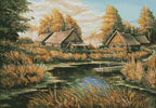 Rural River Landscape - Cross Stitch Chart
