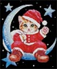 Santa on the Moon - Cross Stitch Chart