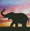 Silhouette of Elephant (Crop) - Cross Stitch Chart