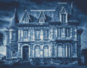 Spooky House (Blue) - Cross Stitch Chart