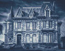 Spooky House (Blue 2) - Cross Stitch Chart