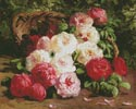 Still Life with Roses in a Basket - Cross Stitch Chart