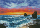 Sunset over Beach - (Facebook Group) Cross Stitch Chart