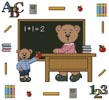 Teacher Teddy Border 1 - Cross Stitch Chart