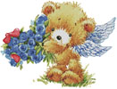 Teddy Angel (Blue Flowers) - Cross Stitch Chart