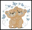 Teddies in Love (Blue) - Cross Stitch Chart