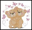 Teddies in Love (Pink) - Cross Stitch Chart