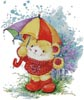 Teddy in the Rain - Cross Stitch Chart