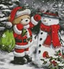 Teddy Santa with Snowman (Crop) - Cross Stitch Chart