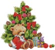 Teddy under Christmas Tree - Cross Stitch Chart