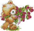 Teddy with Flowers - Cross Stitch Chart