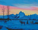 Teton Sunset in Winter - Cross Stitch Chart