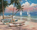 Three Boats on a Tropical Beach - Cross Stitch Chart