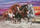 Three Horses at Sunset - Cross Stitch Chart
