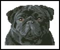 Tiny Black Pug - Cross Stitch Chart